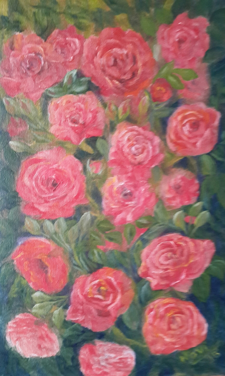 floral painting Rose Vine 2 roses original oil painting by Navdeep Kular