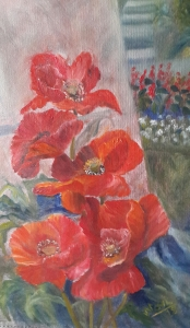 Red hot poppies oil painting by Navdeep Kular