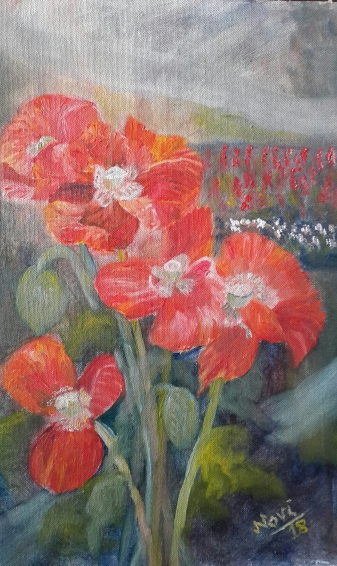 Poppies in my Garden 2 original oil painting by Navdeep Kular (18H X 12W in)