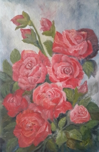 Roses in my Garden oi; painting by Navdeep Kular