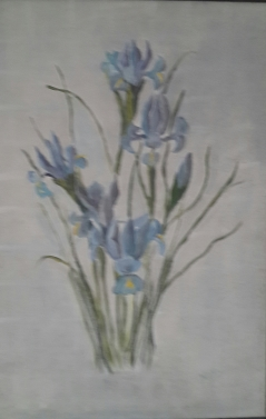 blue irises oi painting