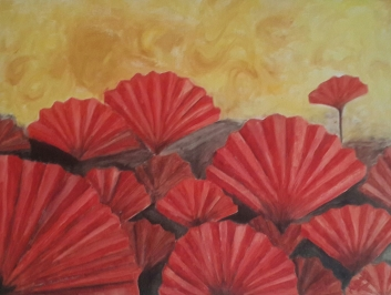 red poppies oil painting by Navdeep Kular
