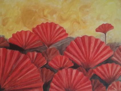 red poppies oil painting by Navdeep Kular