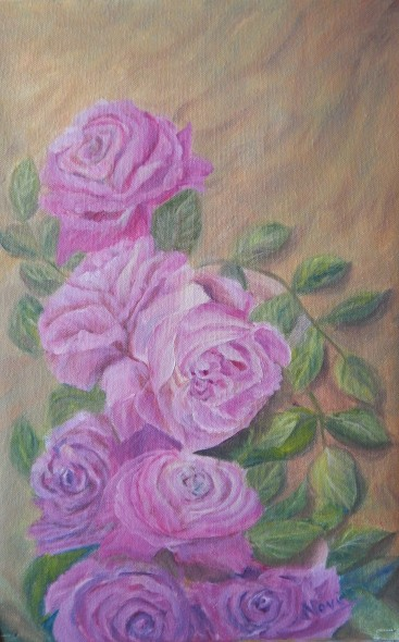 floral painting Mauve Roses original oil painting by Navdeep Kular