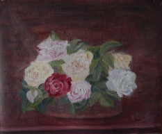 floral painting Roses de Nice on a Table Ode to Fantin