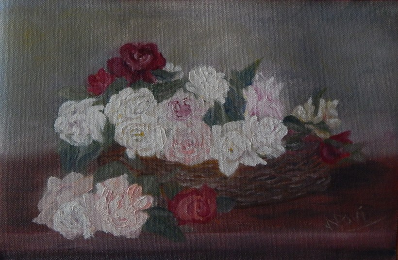 A Basket of Roses (8H X 12W in) Ode to Fantin