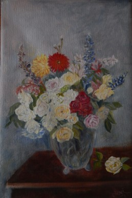 floral painting The Rosy Wealth of June (18H X 12W in)Ode to Fantin