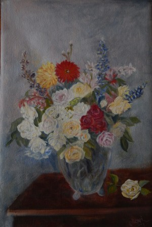 The Rosy Wealth of June (18H X 12W in)Ode to Fantin