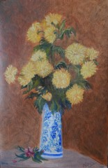 floral painting Chrysanthemums in a Ceramic Vase (18H X 12W in) Ode to Fantin