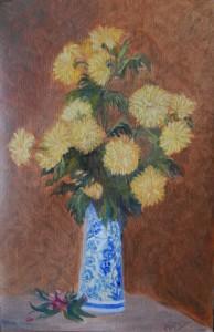 Chrysanthemums in a Ceramic Vase (18H X 12W in) Ode to Fantin