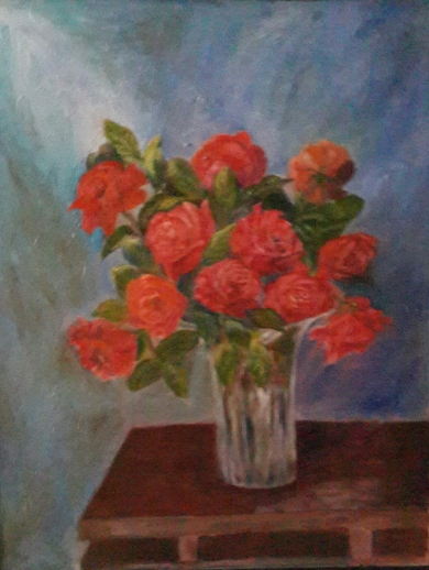 floral painting Red Roses in a Crystal Vase original oil painting by Navdeep Kular