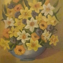 floral painting Daffodils in a Blue Vase oil painting by Navdeep Kular