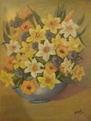 Daffodils in a Blue Vase oil painting by Navdeep Kular