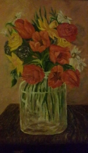Roses, Tulips and Daffodils in a Glass Vase oil painting by Navdeep Kular