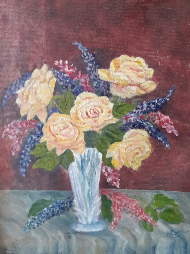 floral painting Yellow Roses in a Crystal Vase oil painting by Navdeep Kular