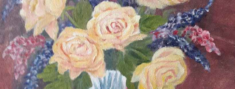 Yellow Roses in a Crystal Vase oil painting by Navdeep Kular