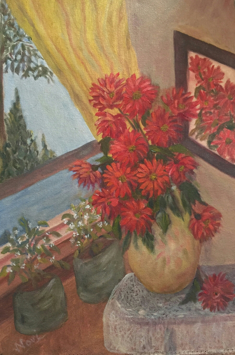 Red Flowers in a Vase original oil painting by Navdeep Kular