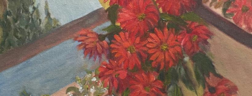 Red Flowers in a Vase original oil painting by Navdeep Kular