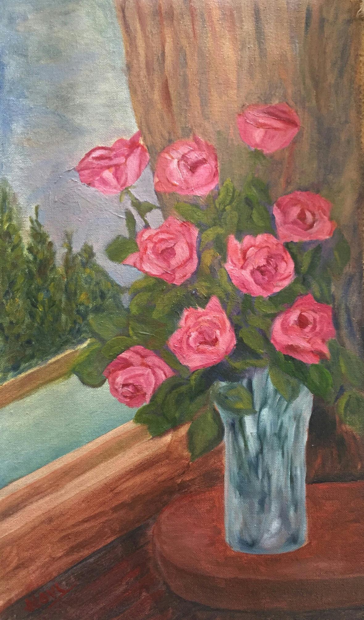 Pink Roses in a Crystal Vase original oil painting by Navdeep Kular