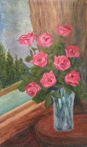 Pink Roses in a Crystal Vase oil painting by Navdeep Kular