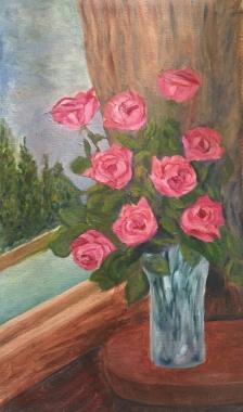floral painting Pink Roses in a Crystal Vase original oil painting by Navdeep Kular