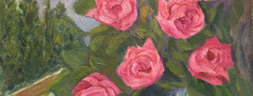 floral painting Pink Roses in a Crystal Vase original oil painting by Navdeep Kular