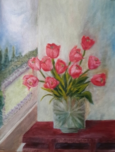 Tulips in a Crystal Vase original oil painting by Navdeep Kular
