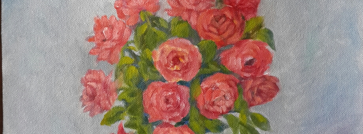 Roses in a Vase original oil painting by Navdeep Kular