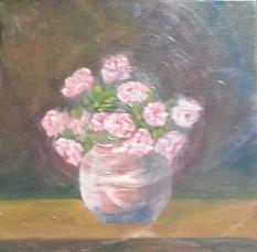 floral painting Pink Roses in a Vase original oil painting by Navdeep Kular