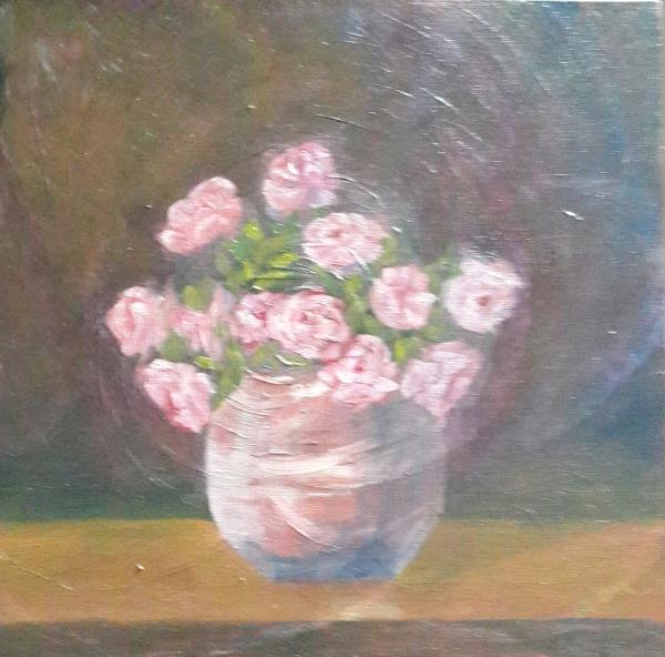 Pink Roses in a Vase original oil painting by Navdeep Kular