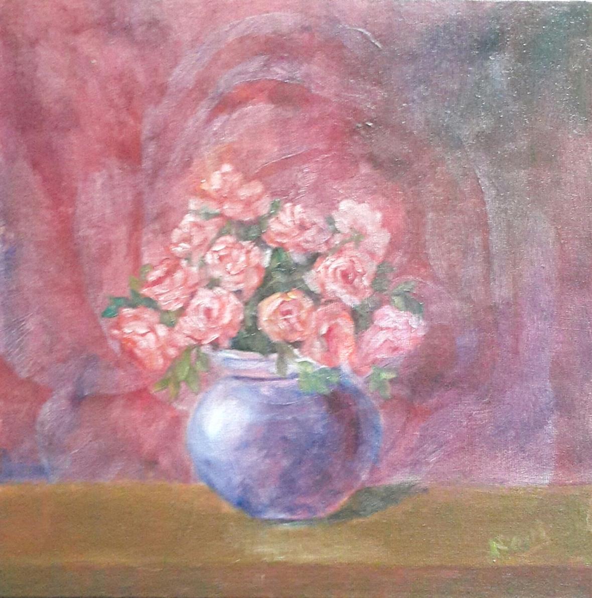 Peach Roses in a Vase original oil painting by Navdeep Kular