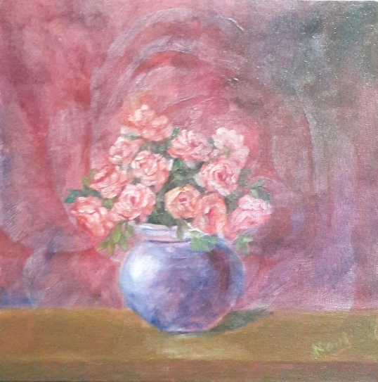 floral painting Peach Roses in a Vase original oil painting by Navdeep Kular