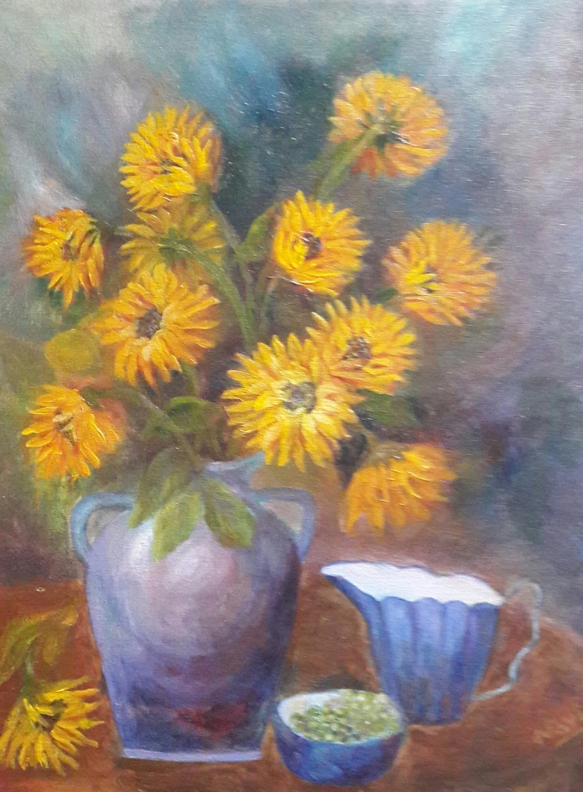 Sunflowers in a Blue Vase original oil painting by Navdeep Kular