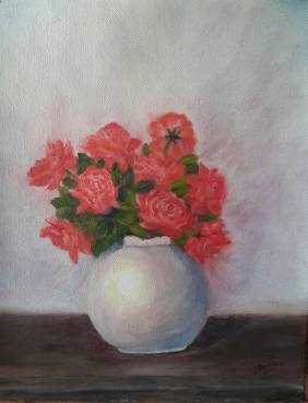 Red Roses in a White Vase (14H X 11W) original oil painting by Navdeep Kular
