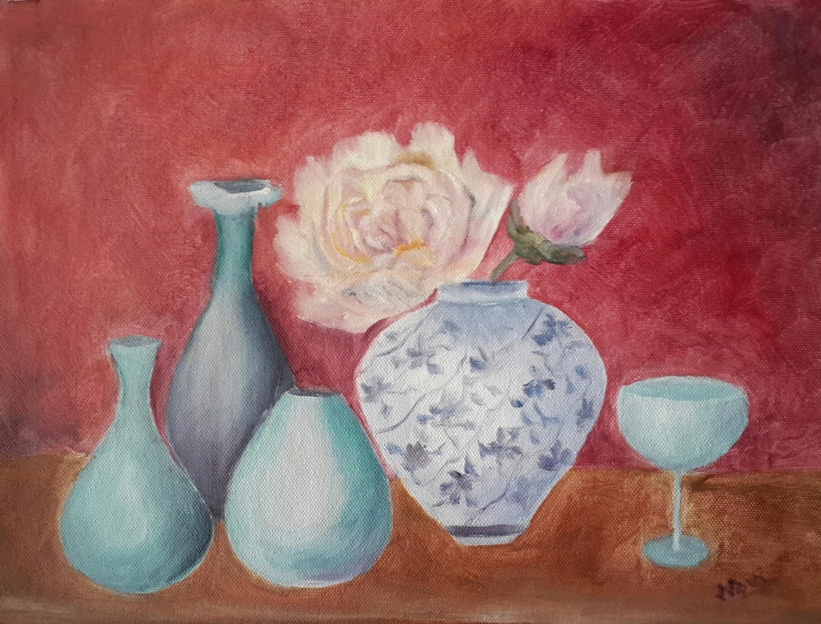 Peonies and the Blues 1 (11H X 14W) original oil painting by Navdeep Kular