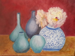 Peonies and the Blues 2 (11H X 14W) original oil painting by Navdeep Kular