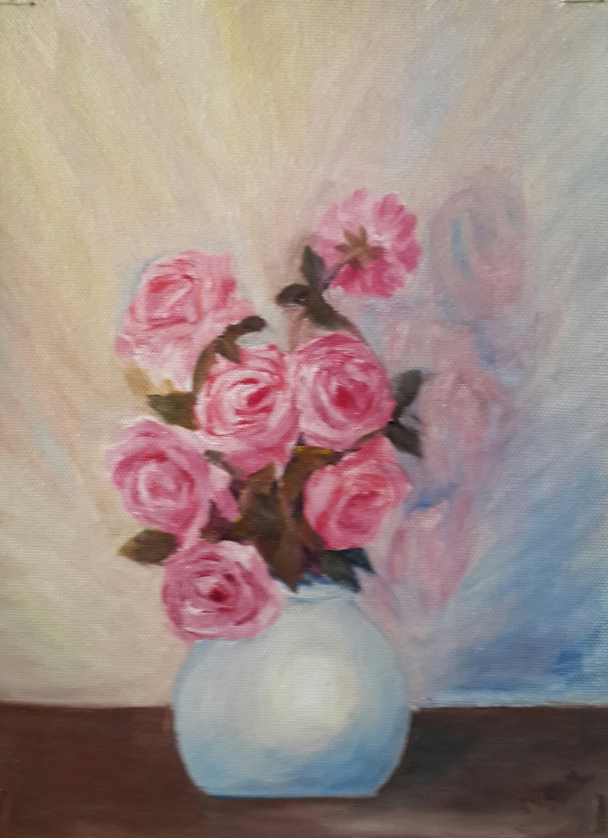 Pink Roses in a Vase (12H X 9W) original oil painting by Navdeep Kular
