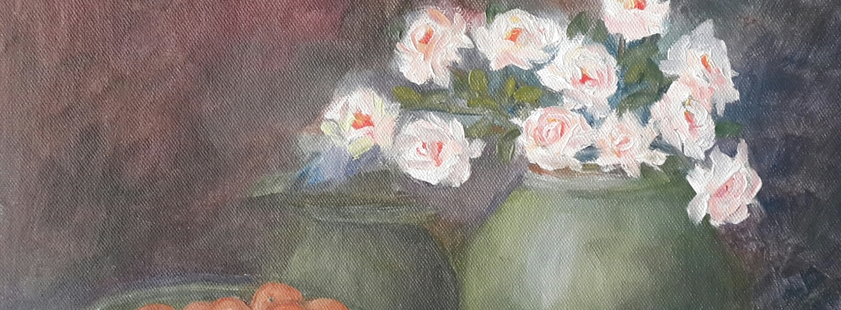 White Roses in a Vase (11H X 14W)