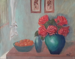 red roses in a turquoise vase original oil painting by Navdeep Kular
