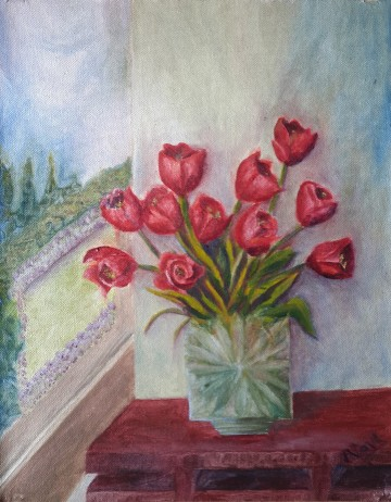 Tulips in a Crystal Vase (14H X 11W in) Red Tulips oil painting by Navdeep Kular