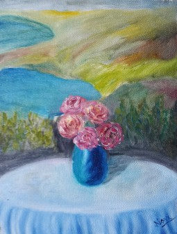 Peonies on a Garden Table 1 (11H X 8W in)peonies oil painting by Navdeep Kular