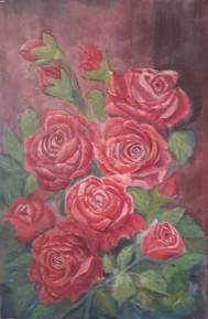 floral painting Red Roses (18H X 12W in) roses oil painting by Navdeep Kular