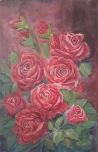 Red Roses (18H X 12W in) roses oil painting by Navdeep Kular