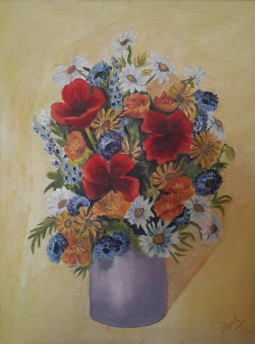 Poppies in a Vase (20H X 16W in )oil painting by Navdeep Kular