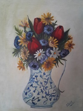 Tulips in a Ceramic Vase (20H X 16W in )oil painting by Navdeep Kular