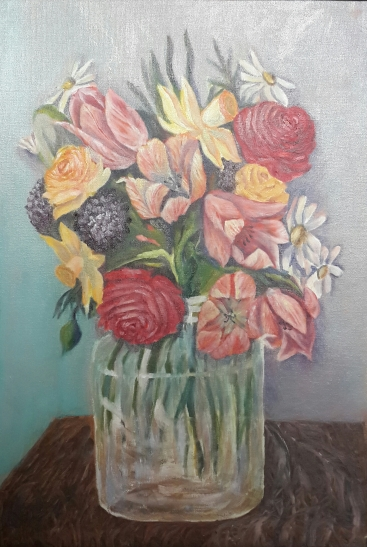 floral painting Roses, Tulips and Daffodils in a Glass Vase (22H X 15W in) oil painting by Navdeep Kular