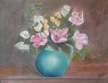 Tulips in a Jug (11H X 14W in) oil painting by Navdeep Kular