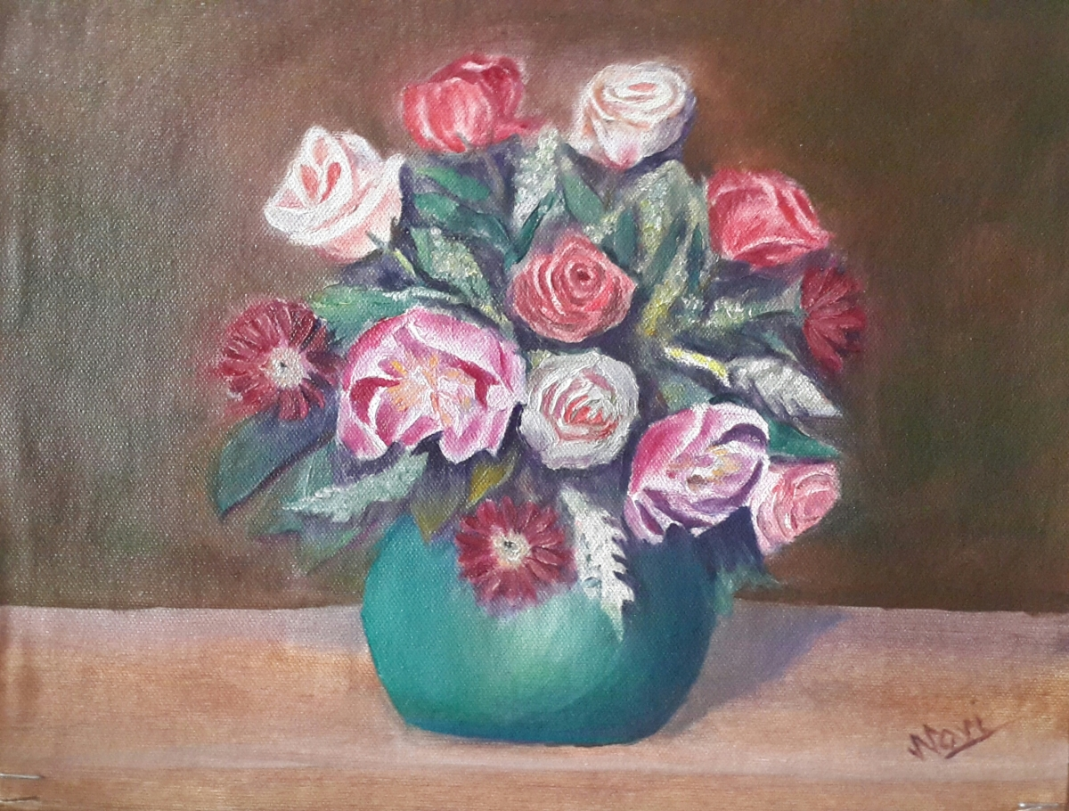 Peonies and Roses in a Vase original oil painting by Navdeep Kular