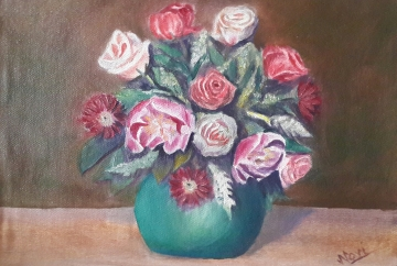 floral painting Peonies and Roses in a Vase original oil painting by Navdeep Kular