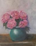 floral painting Peonies in a Turquoise Vase oil painting by Navdeep Kular